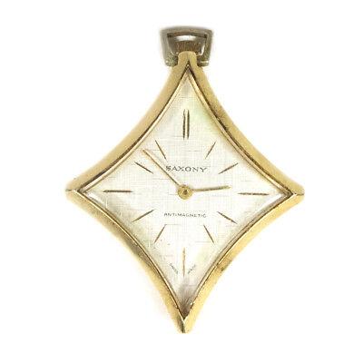 Vintage SAXONY Antimagnetic Aluminum Swiss Made Star Diamond Shap Watch Pendant
