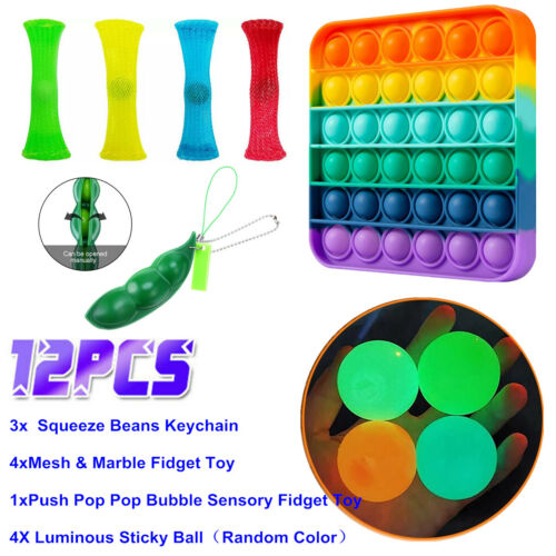 12 Pack Fidget Toys Set Sensory Stocking Stuffer For Stress Relief Anti-Anxiety Educational