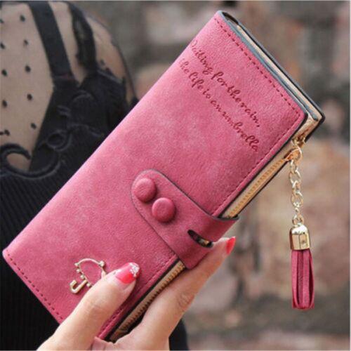 lady women s leather clutch wallet purse