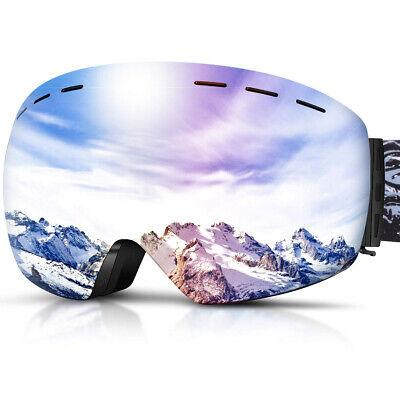 Large Spherical Ski Goggles with Interchangeable Magnetic Lens, OTG Frameless