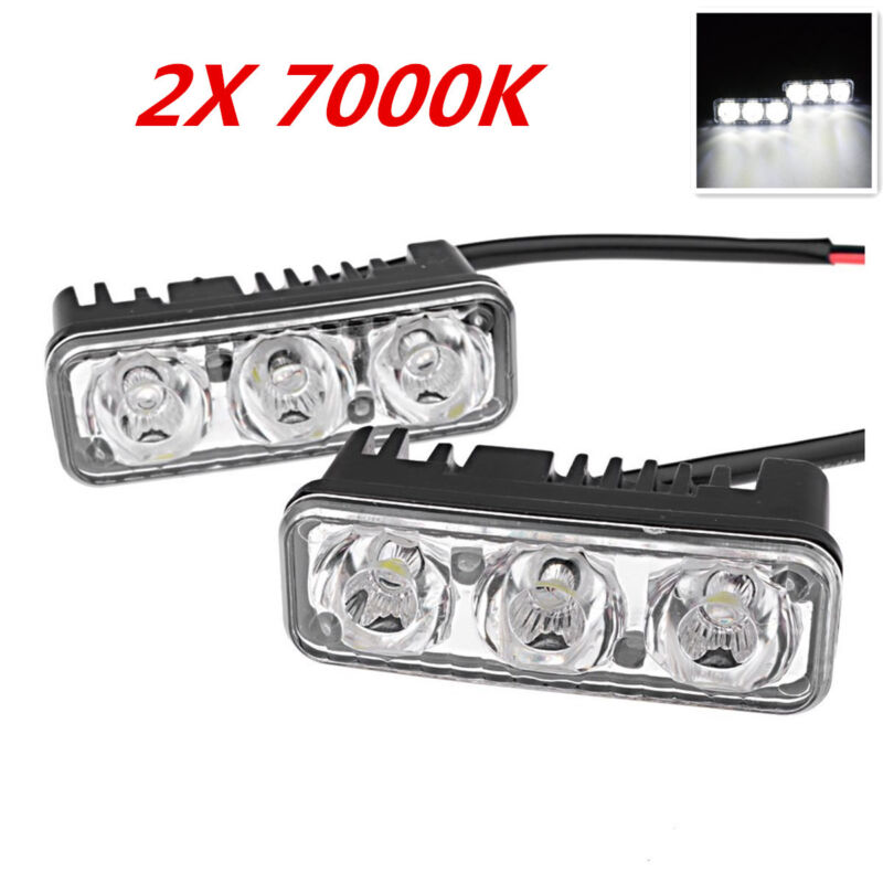 2pc 3 LED High Power 9W White 7000K Car Truck Emergency Light Aluminum Universal