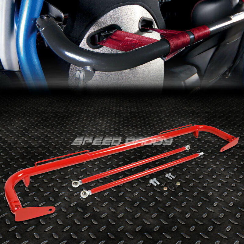 """49"""" STAINLESS STEEL RACING SAFETY SEAT BELT CHASSIS ROLL HARNESS BAR ROD RED"""
