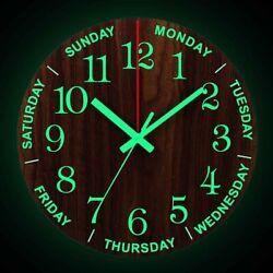 Wall Clock Luminous Glow In The Dark Silent Quartz Wooden Decor Large Modern 12