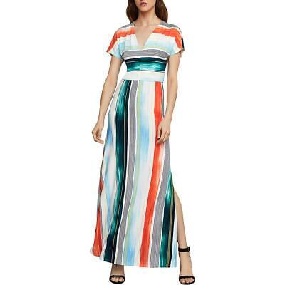 BCBG Max Azria Women's Brushstroke Stripe Short Sleeve V-Neck Maxi Dress Bcbg Knit Dress