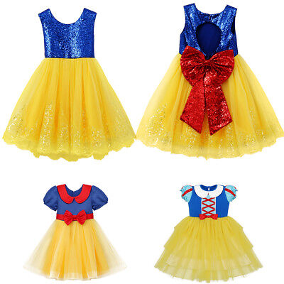 Snow White Princess Costume Dress for Kids Girl Birthday Party Halloween Cosplay