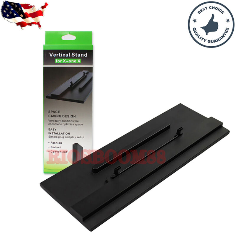 Black Vertical Stand For Microsoft Xbox One X Console With Hook Easy Install