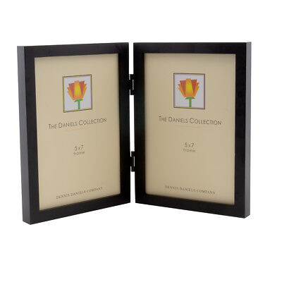 """Double Vertical Wood Standing Glare Resistant Glass Picture Frame For 5x7"""" (Glare Resistant Glasses)"""
