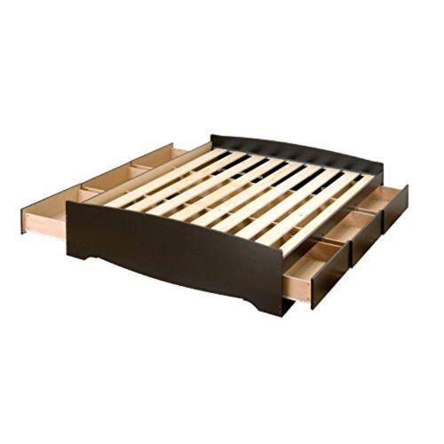 Black Queen Platform Storage Bed  By Prepac