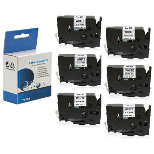 6x Label Maker Tape 12mm White for Brother P-Touch TZ 231 TZ-231 TZe-231 PT-D210
