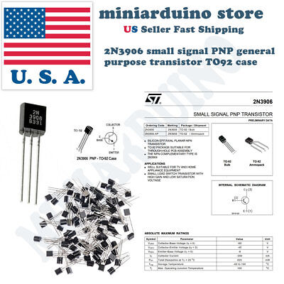 TO-92 2N3906 E-Projects General Purpose Transistor 50 Pieces PNP