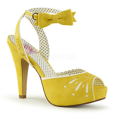"PINUP Sexy Retro Hidden Platform 4 1/2"" High Heel Peep Toe Sandals Yellow Shoes"