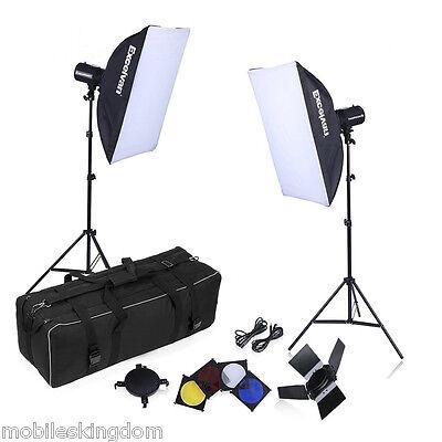 500W Strobe Studio Photography Photo Flash Light Kit–Light Stands/Barn Doors UK