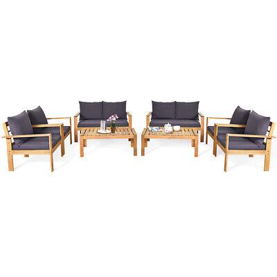 Garden Furniture - Costway 8PCS Patio Furniture Set Acacia Wood Thick Cushion Loveseat Sofa Garden