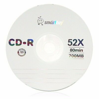 5 Pack Smartbuy CD-R 52X 700MB/80min Logo Blank Record Disc w/ 5 pc paper sleeve
