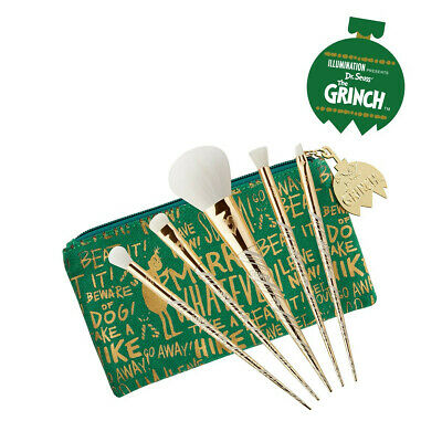 GRINCH HE HATES IT YOU'LL LOVE IT 5 BRUSH SET PUR COSMETICS GOLD FACE EYES BAG](Grinch Face Makeup)