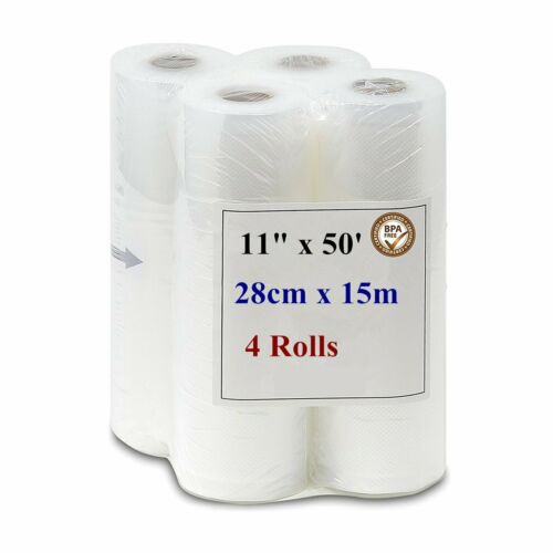 "4 Rolls 11""x50' Vacuum Food Sealer Textured Bag For Food Sav"