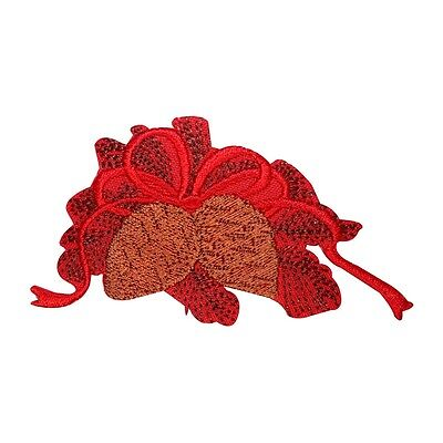 - ID 8190B Festive Pinecones With Bow Patch Christmas Embroidered Iron On Applique