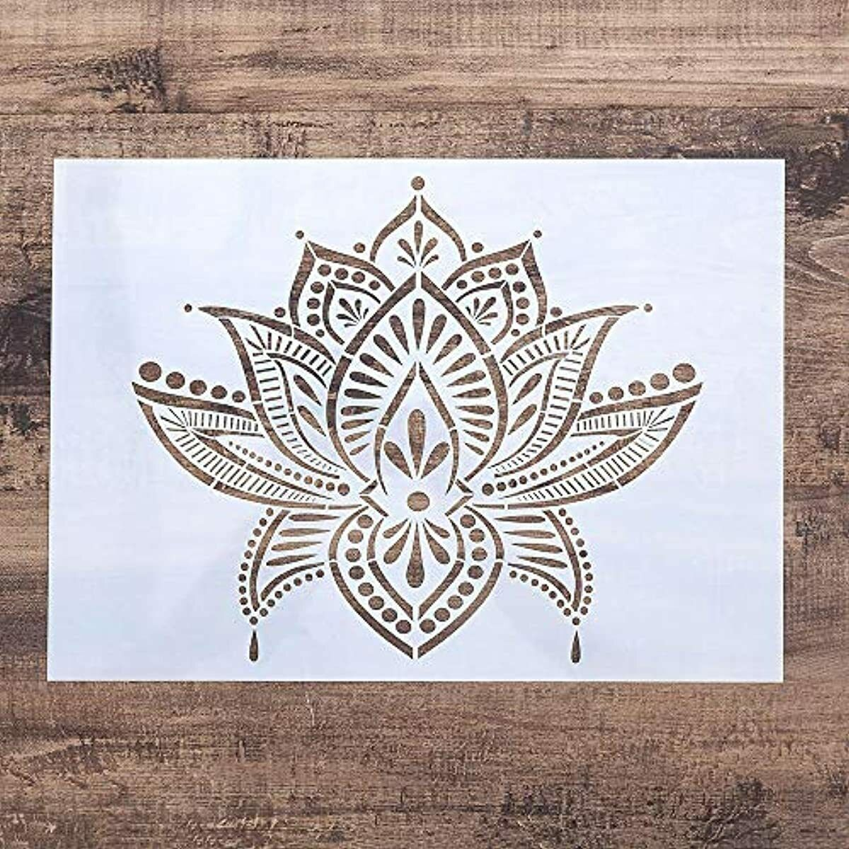 DIY Decorative Lotus Stencil Template for Painting on Wall Furniture Crafts