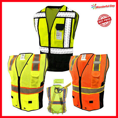 Lm Hi Vis Vest Surveyor Safety Vest Class 2 D-ring Harness Photo Id Pocket