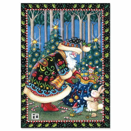 Mary Engelbreit Woodland Santa Christmas Card  ~~ FREE SHIPPING ~~