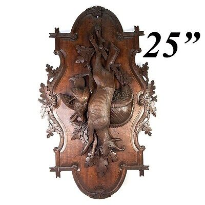 """Antique Carved Black Forest Stag & Fowl Head 25"""" Wall Plaque, Fruits of the Hunt"""