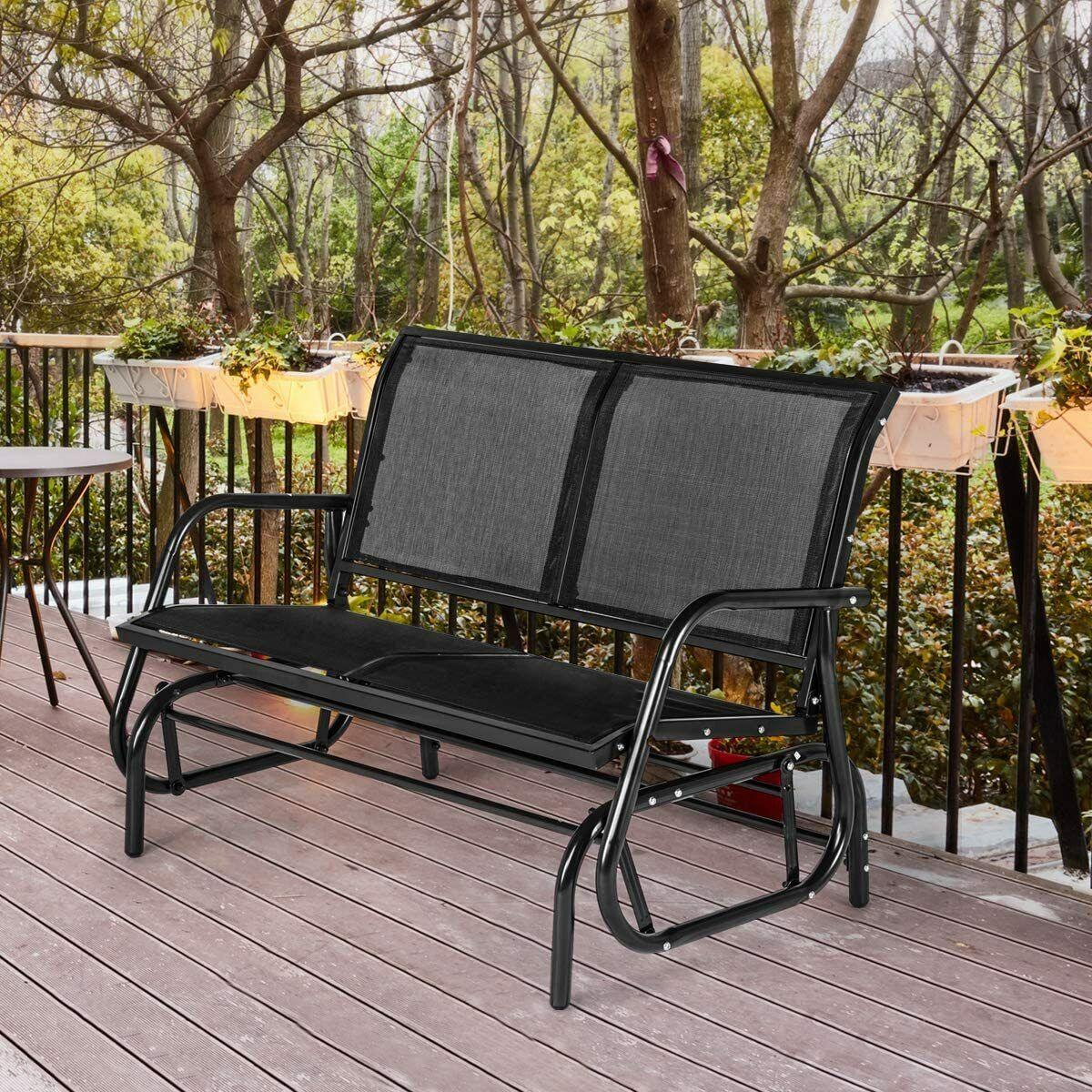 AECOJOY Outdoor Swing Glider Bench 2 Person Loveseat Patio R