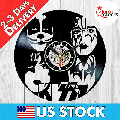 KISS Wall Clock Rock Band Vinyl Record Black Fan Art Best Gifts Home Room
