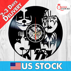KISS Wall Clock Rock Band Vinyl Record Black Fan Art Best Gifts Home Room Decor