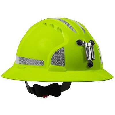 Jsp Full Brim Mining Hard Hat With 6 Point Ratchet Suspension Lime Green