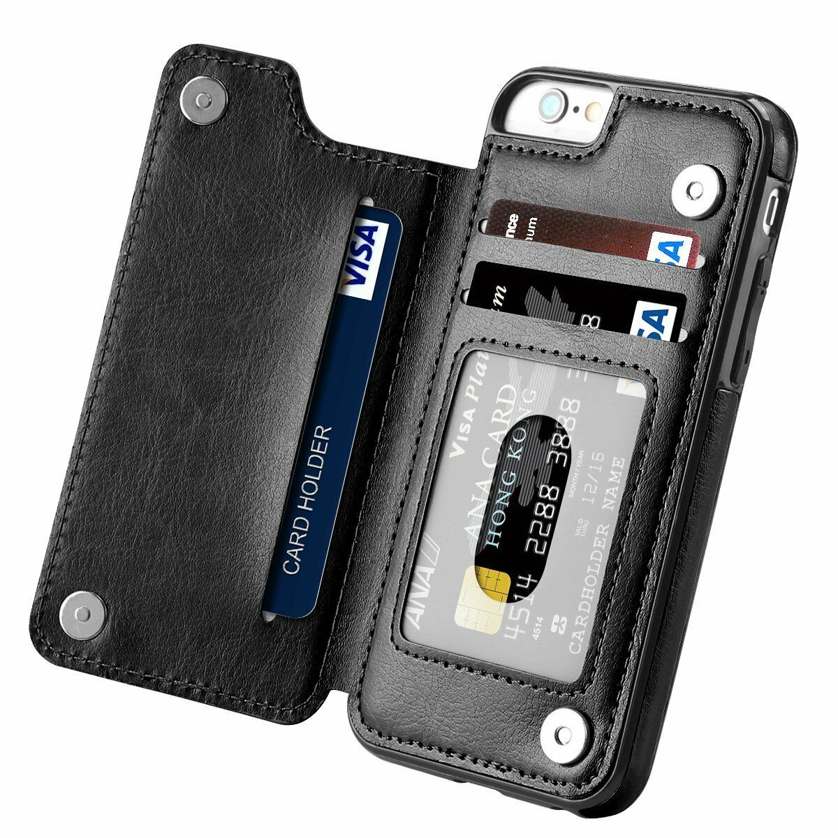Leather Flip Wallet Card Holder Case Cover For Apple iPhone