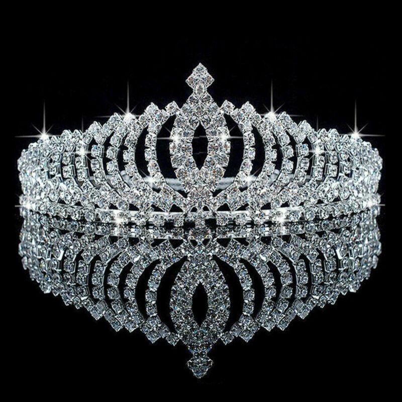 Silver Women Tiara Rhinestone Crystal Bridal  Wedding Prom Pageant Headwear Gift