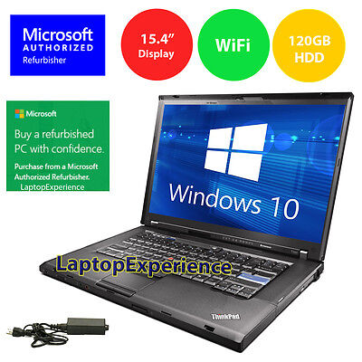 "Laptop Windows - IBM LENOVO LAPTOP THINKPAD 15.4"" WINDOWS 10 CORE 2 DUO CDRW DVD WiFi NOTEBOOK HD"
