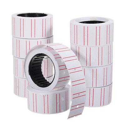 10 Rolls Price Label Paper Tag Sticker Mx-5500 Labeller Gun White Red Linefbp9