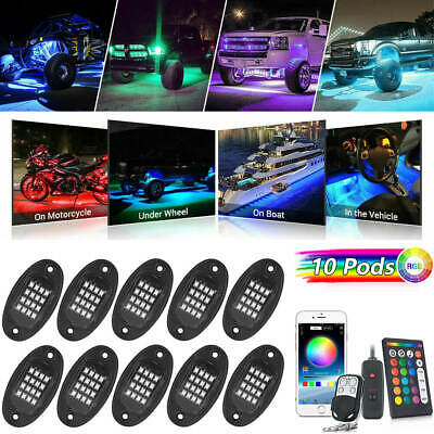 10 Pods RGB LED Rock Lights for Ford Chevy Jeep Under Car Outside Truck ATV SUV