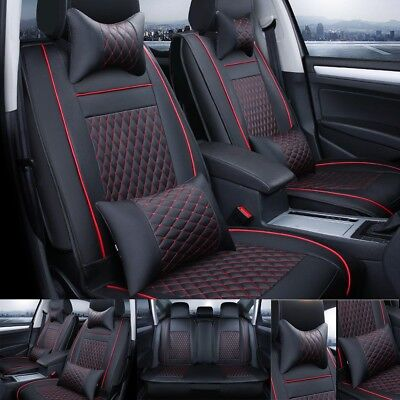 (11Pcs Car Seat Cover Protector+Cushion Front & Rear Full Set PU Leather Interior)