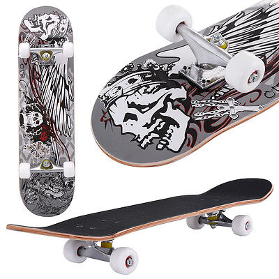 Skateboard Retro Complete Deck Cruiser Skater Skating Wooden Board Skeleton Wing