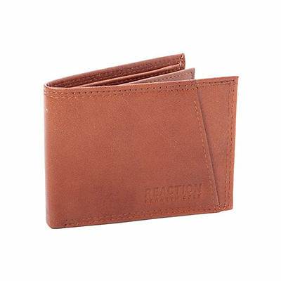 $77 KENNETH COLE MENS BROWN LEATHER BIFOLD 9CC RFID ID INSERT CREDIT CARD WALLET
