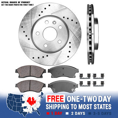 Front Drill Slot Brake Rotors Ceramic Pads For 2011 -2014 2015 Chevy Cruze Sonic