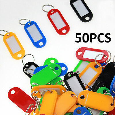 (50X Plastic Key Tags Metal Ring Luggage Card Name Label Keychain W/ Split Ring)