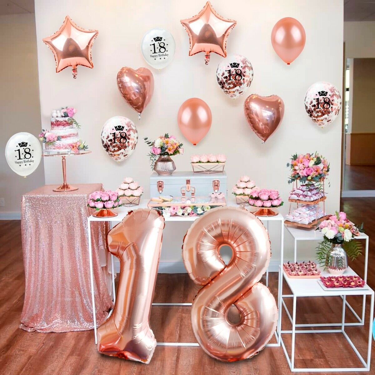 Rose Gold Foil Latex Balloon Ribbon 18th Birthday Party Decor Supplies Set