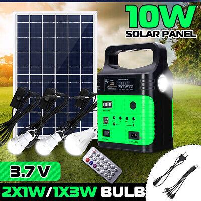 Portable Solar Power Panel Generator System LED Light USB Charger Home