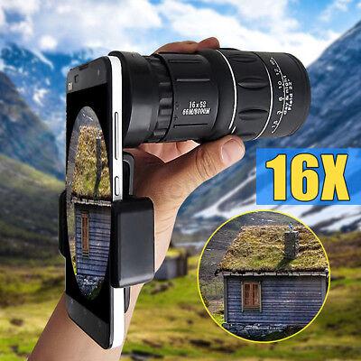 16x52 Zoom Hiking Phone Camera Lens Telescope Monocular Telephoto Clip-on Kit