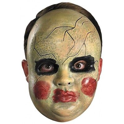 Halloween Scary Baby Dolls (Creepy Baby Mask Adult Scary Broken Doll Halloween Costume Fancy)