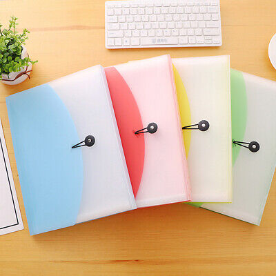 A4 Plastic File Document Bag Pouch Bills Folder Card Holder Organizer Fastener