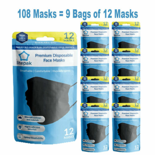 108pcs Litepak Black Disposable 3 Ply Face Mask SOFT Earloop Premium Mouth Cover