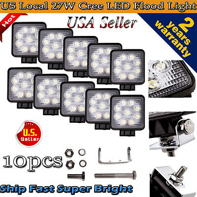 10pcs 27W Cree LED Work Light Bar Flood Square 4WD Offroad ATV Jeep 12V 24V Lamp
