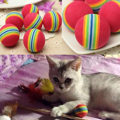 2Pc Small Coloured Pet Cat Kitten Soft Foam Rainbow Play Balls Activity Fun Toys
