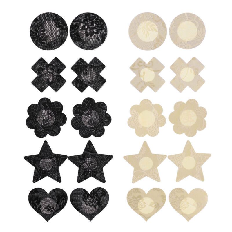 10 Pairs Lace Pasties Breast Nipple Cover Self Adhesive Disposable Sticker Pad