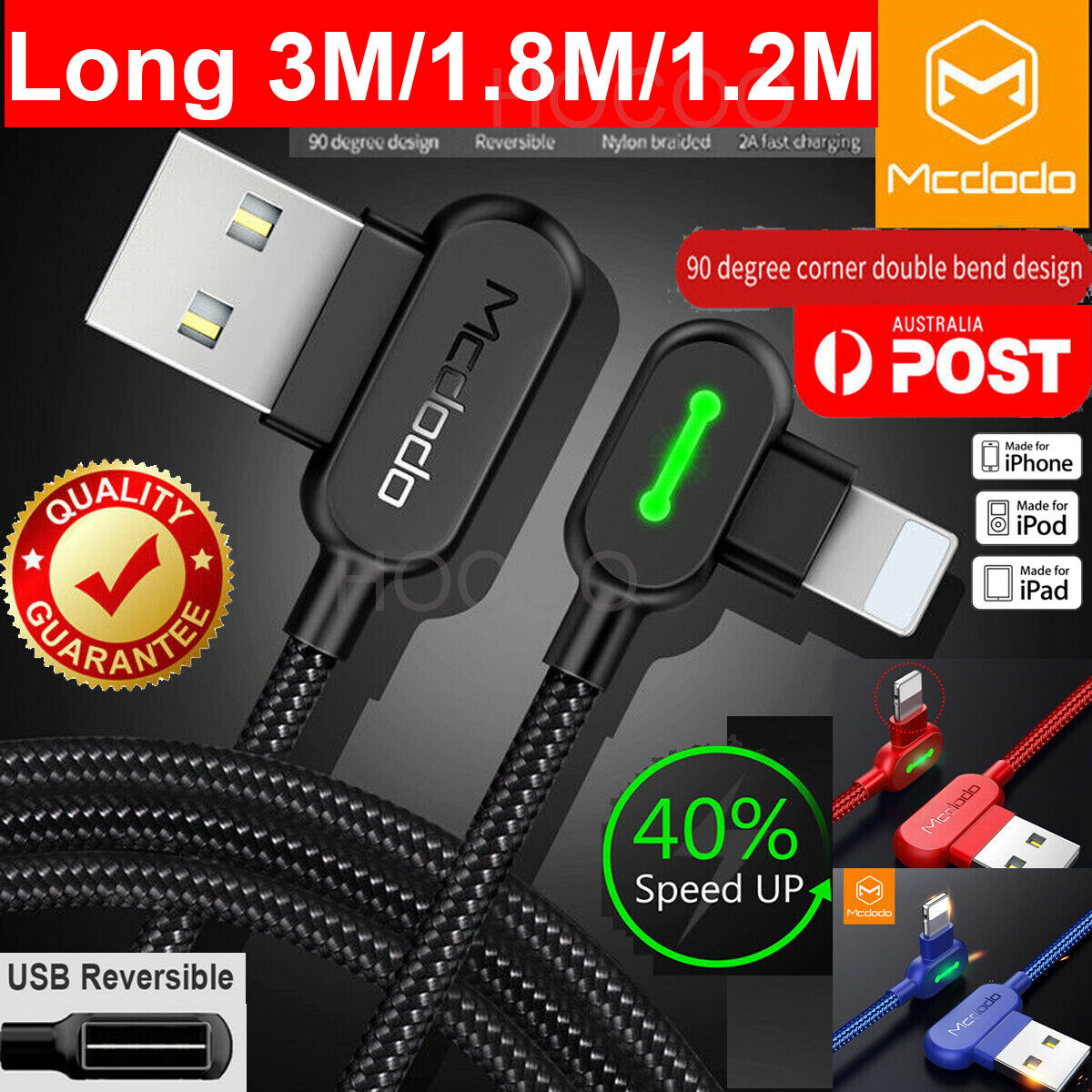 3m Extension Long Length Mcdodo Lightning Cable Charging
