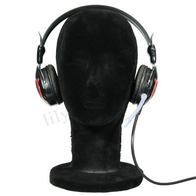 Styrofoam Black Velvet Manikin Mannequin Foam Head Wig Hair Hat Display Glasses